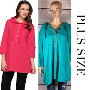 PLUS SIZE  Brushed French Terry Top -  Turquoise